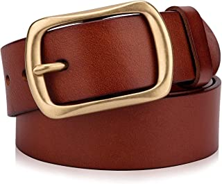 Men's Genuine Leather Belts with Solid Brass Gold Buckle, Top-Grain One Piece Leather Dress Casual Belts For Men.