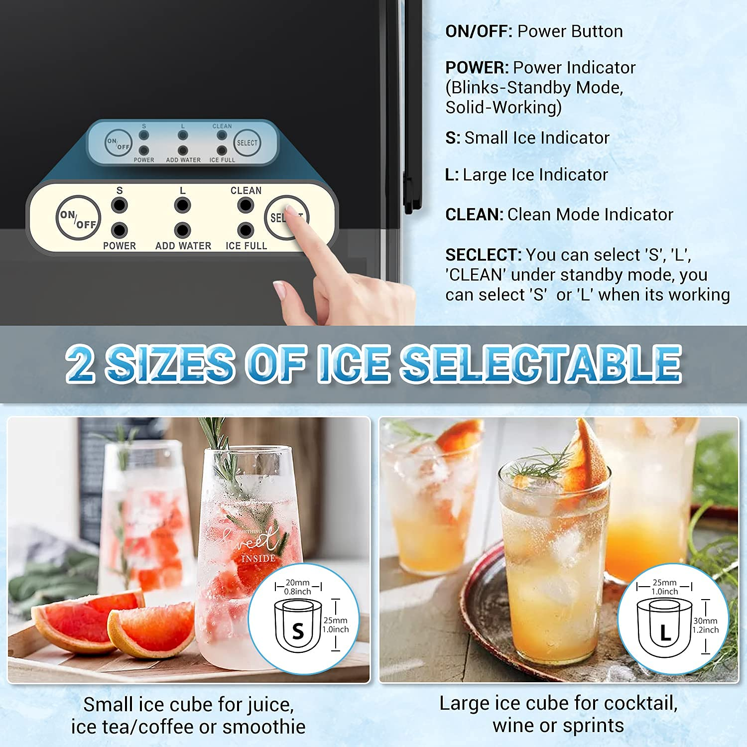 Countertop Ice Maker Machine, Elechomes Portable Ice Maker with Handle, 27lbs Ice Per Day, Compact Ice Machine with Self-Cleaning Function, Perfect for Home, Kitchen and Office