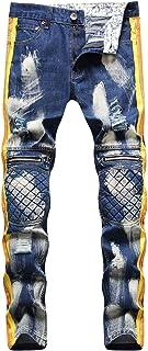 Men Casual Print Slim Fit Skinny Denim Pants Ripped Jeans
