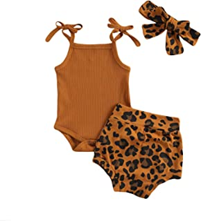 Baby Girl Leopard Print Outfits Tank Top Onesies Ribbed Halter Romper Bodysuit Shorts Bloomers Summer Clothes Set