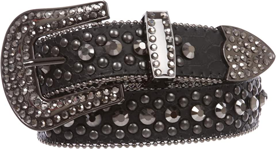 Women's Western Cowgirl Alligator Rhinestone Studded Leather Belt