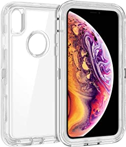 Coolden Hybrid Clear Phone Case for iPhone Xs MAX 6.5 Inches, Heavy Duty Protective Dual Layer Shockproof Case with Hard PC Bumper Soft TPU Back for 2018 Release Apple iPhone Xs MAX, Transparent