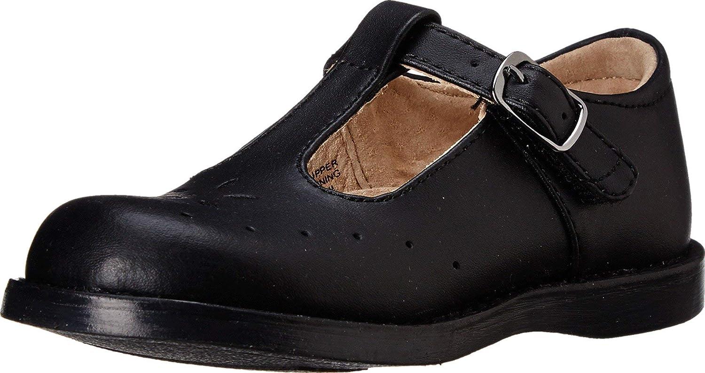 FOOTMATES Girl's Sherry Hook-and-Loop Perf T-Strap Black - 2532
