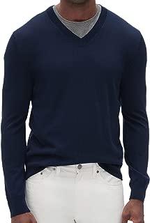 Banana Republic Men's Washable Merino Wool V-Neck Sweater, Navy