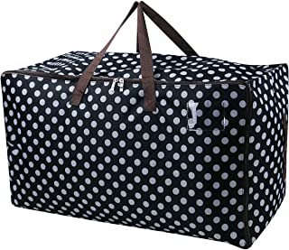 iwill CREATE PRO Large Storage Bags for Seasonal Clothes,Comforters in Closet, Halloween Ornament Storage Container,Black Dot
