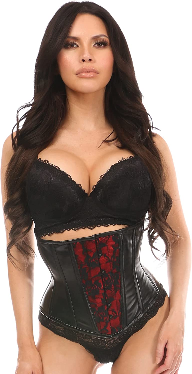 Daisy corsets Ranking TOP5 Women's Popularity Wet Look Under W Lace Over Bust Corset Red