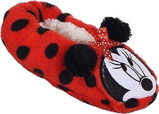 Pantuflas de interior blandas de piel sintética para niñas, diseño de Minnie