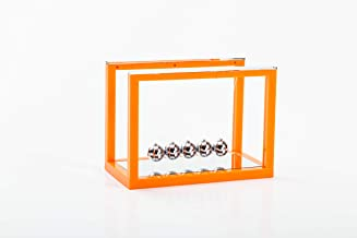 Asian Home Newtons Cradle Balance Balls, 5 Pendulum Balls, with Mirror Desk Top Decoration Kinetic Motion Toy for Home and Office, Physics Toys for Teachers (Orange)