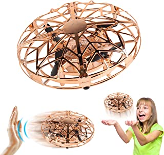 Joyfun Toys for 5-8 Year Old Boys Flying Toys Air Magic Hogs Mini Drone Remote Control Helicopter UFO Hand Controlled Flying Ball for Kids Gifts with LED Lights Golden