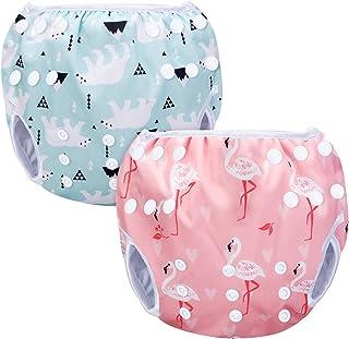 Luxja Schwimmwindel wiederverwendbar 2 Stück, Baby Schwimmhose Verstellbarer, Waschbar Schwimmwindel für Baby 0-3 Jahre, Eisbär  Rosa Flamingo