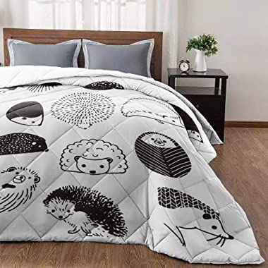 CyCoShower Comforter Soft&Cozy Bedding Cover for All Seasons Hand Draw Hedgehog Chic Woodland Critters Printed Polyester