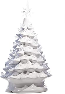 ReLive Christmas is Forever Lighted Tabletop Ceramic Tree, 14.5-Inch White Tree with White Lights