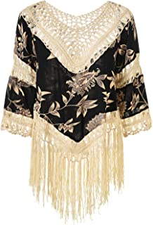 Ferand Women's V-Neck Floral Crochet Long Tassel Poncho Tunic Top
