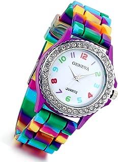 Lancardo Rhinestone Rainbow Color Silicon Jelly Fun Play Cheap Watches for Women Girls - Purple