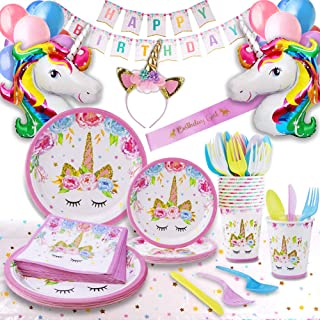 Unicorn Party Supplies - Bonus Unicorn Headband Birthday Sash and Balloons- Serves 16 Guests - Unicorn Birthday Decorations for Girls with Disposable Tableware Cutlery– By GFive Party Pack