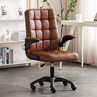 Silla Oficina Ergonómica Silla de trabajo, silla de oficina ejecutiva de cuero con respaldo alto, silla de escritorio giratoria ajustable cómoda ergonómica para computadora, capacidad de 130 kg