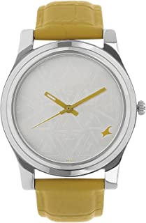 Fastrack Women's 6046SL03 Casual Yellow Leather Strap Watch