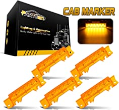 Partsam 5PCS 6LED Cab Light Truck Trailer Cab Marker Top Amber Lens Roof Running Light Reflective Lights Assembly Compatible with Volvo 2003+ VN/VNL Trucks Waterproof