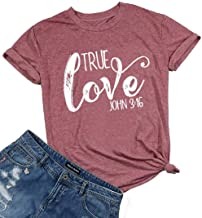True Love Christian Shirt Women Inspirational Short Sleeve Letter Print Graphic Tee Tops