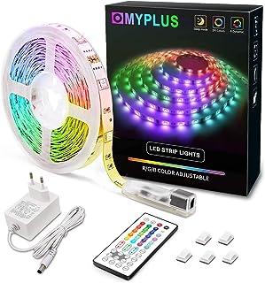 MYPLUS LED Streifen, RGB Led Strips 5M mit IR-Fernbedienung und Netzteil Led Beleuchtung Band für Zuhause, Schlafzimmer, T...