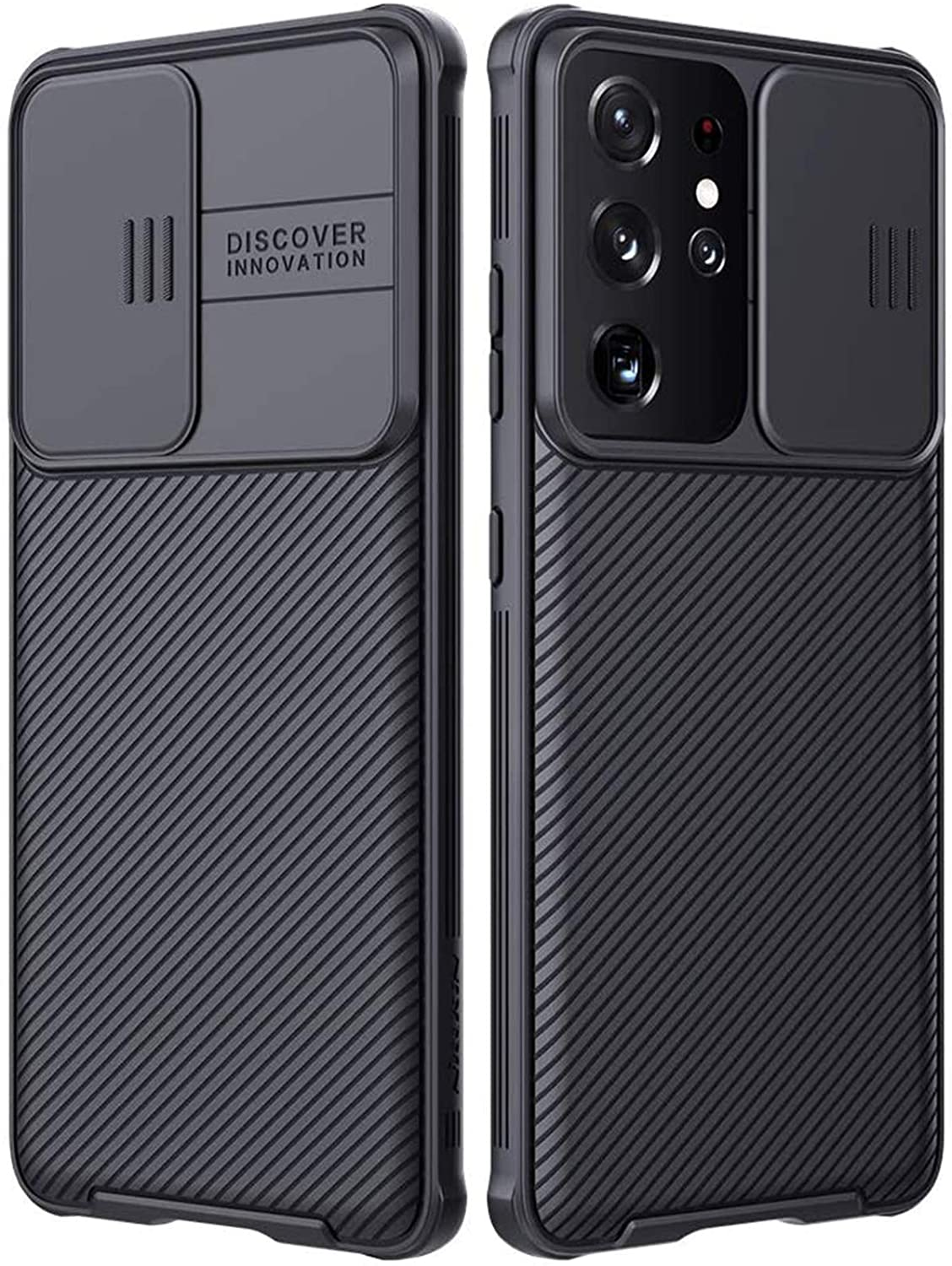 imluckies for Samsung Galaxy S21 Ultra Case with Camera Cover, Hard PC Back & Soft Bumper, Protective & Slim Fit, Camera Protection Case for Samsung Galaxy S21 Ultra 6.8