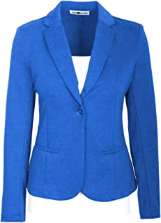 Auliné Collection Womens Office Work One Button Closure Long Sleeves Knit Blazer