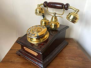 $64 » Reproduction Wooden Retro Telephone Rotary Dial Mechanical Bell Chicago Replica (Model B)