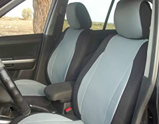 topcar-athens Mix Leatherette and Synthetic Custom Fit Two Front Car Seat Covers - Fits Volvo 850 940 960 (Gray/Black Sides)