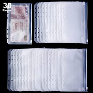 Binder Pocket 6 Holes Loose Leaf Bags A6 Size Binder Zipper Folders Plastic File Document Bags for Home Office School Supplies A6 Size 30 Pieces