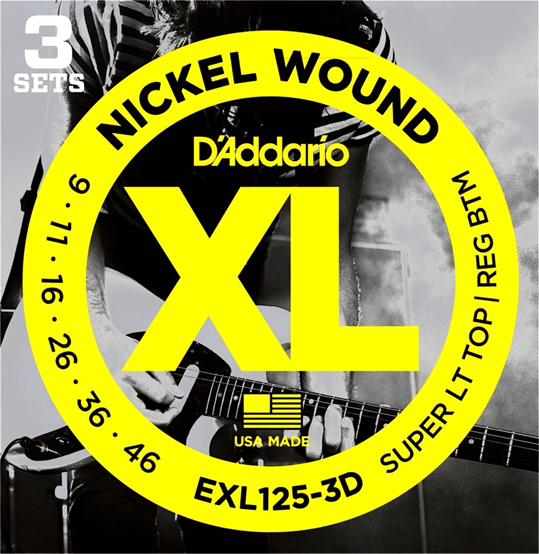 D'Addario EXL125-3D Nickel Wound Super Light Top/Regular Bottom Electric Strings 3-Pack byrgbh0143829