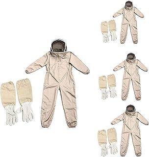 KOET Imker-Anzug mit abnehmbarer Schleierkapuze und Reißverschluss, professionell, verdicktes Fasergewebe, Bienenzuchtjacke mit elastischem Bund und Knöcheln für den Bauernhof
