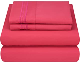 Mezzati Luxury Bed Sheet Set - Soft and Comfortable 1800 Prestige Collection - Brushed Microfiber Bedding (Hot Pink, Queen Size)