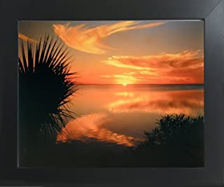 Impact Posters Gallery Ocean Beach Sunset Laguna Madre Texas Scenery Nature Contemporary Black Framed Picture Art Print