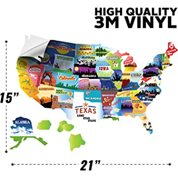 USA States Visited Decal Exterior or Interior Motorhome Wall Decals Evolve Skins 6109735 Trailer Supplies /& Accessories 13 x 17 United States Non Magnet Road Trip Window Stickers RV State Sticker Travel Map