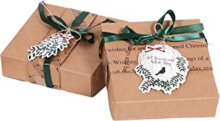 PAPER JAZZ 8pcs Christmas Gift Boxes Candy Box Gift Card Box Kraft Brown Gift Packing Box for Holiday Christmas