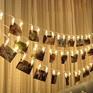 Party Propz Warm LED Photo Clip Remote Fairy String Lights -Set of 10