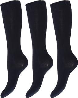 Calcetines lisos altos hasta la rodilla de uniforme de colegio para niños/niñas (pack de 3)