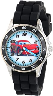 Disney Kid's Cars Watch, Learn How to Tell Time - Kid's Time Teacher Watch with Official Cars Character on The Dial, Childrens Watch with Black Rubber Strap, Kids Analog Watch, Safe for Children