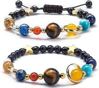 Women Solar System Bracelet Universe Galaxy The Eight Planets Guardian Star Natural Stone Beads Bracelet Bangle for Men