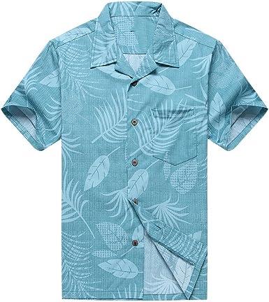 Hombres Aloha Camisa Hawaiana en Floral y Hoja en Aqua
