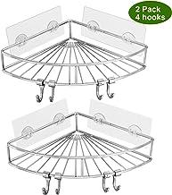 Shower Rack, YULEER 304 Stainless Steel Adhesive Shower Corner Shelf with 4 Hooks, 2 Pack Wall Mounted Shower Organizer fo...
