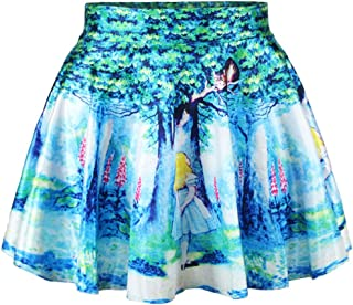 Women Fashion Printed Casual Skirt Stretchy Flared Pleated Mini Skirt
