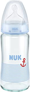 NUK First Choice+ Glass Baby Bottle 240 ml Size 1 Medium 0-6 Months with Anti-Colic Teat Made from Silicone for Milk Feeds Blue