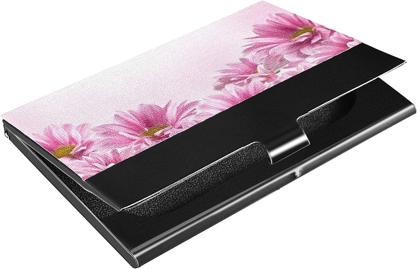 OTVEE Pink Flowers Business Card Holder Wallet Stainless Steel & Leather Pocket Business Card Case Organizer Slim Name Card ID Card Holders Credit Card Wallet Carrier Purse for Women Men