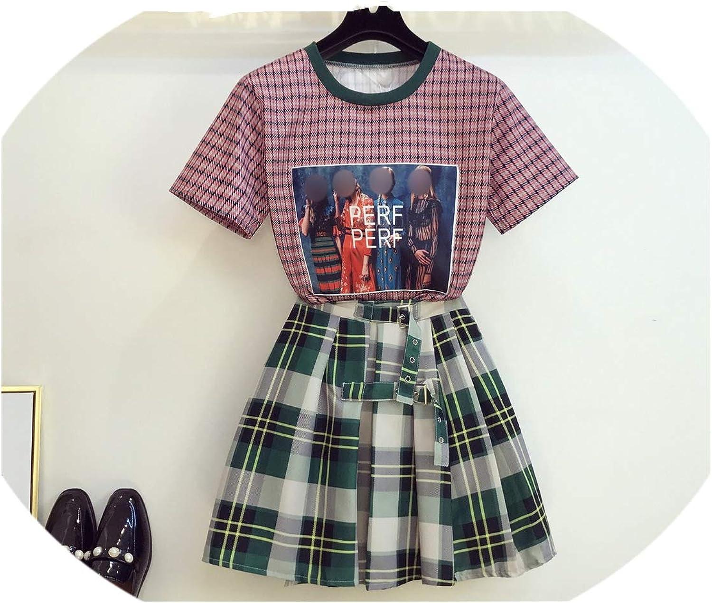 Enjoypeak Summer color Velvet Plaid TShirt + Scottish Pleated Skirt Two Piece Women's