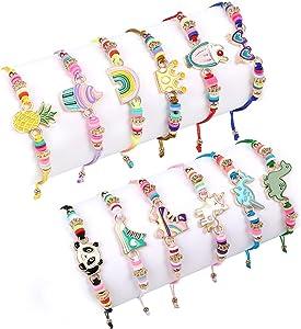 Lorfancy 12 Pcs Kids Girls Bracelets Jewelry Women Unicorn Animal Friendship Bracelet Pendant Teen Toddler Baby Cute Adjustable Multicolor Woven Pretend Play Bracelet