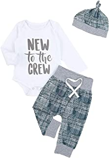 Newborn Baby Boy Summer Clothes New to The Crew Letter...