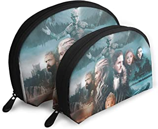 Game Of Thrones Season 8 Poster Portable Toiletry Bag Makeup Bag Multifunction Portable Travel Bags Small Makeup Clutch Pouch With Zipper 2Pcs
