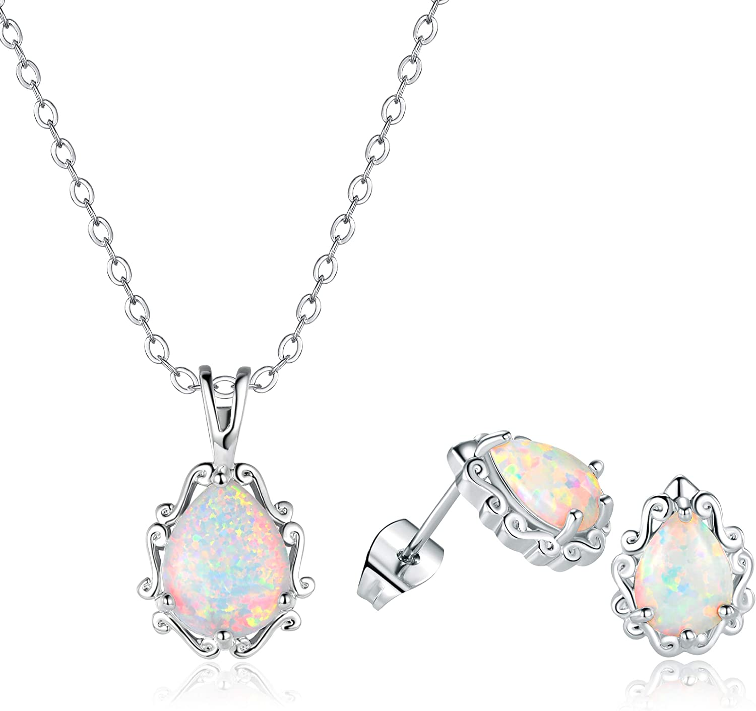 White Gold Plated Opal Halo Pendant Necklace and Stud Earrings Jewelry Set (necklace and earring set)