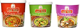 Mae Ploy Red Curry Paste, Green Curry Paste and Panang Curry Paste Set. Great Cooking Gift.